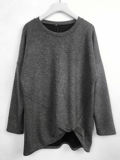 Gray Knot Front Long Sleeve Women Sweater