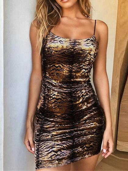 Brown Tiger Stripes Print Women Bodycon Cami Mini Dress