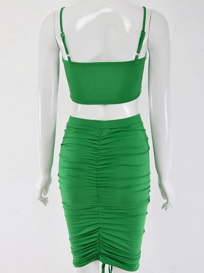 Green Ruched Detail Crop Cami Top And High Waist Skirt