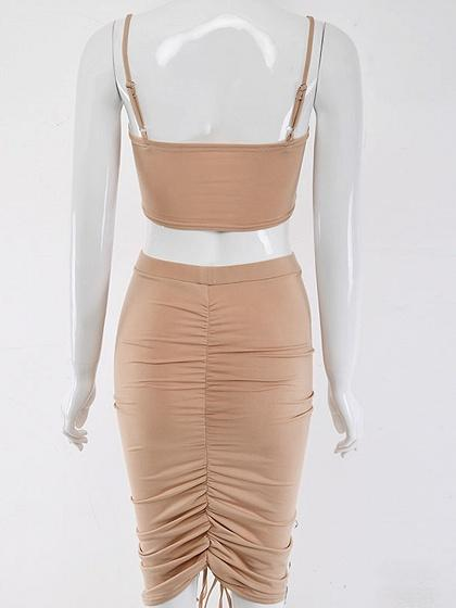 Khaki Ruched Detail Crop Cami Top And High Waist Skirt