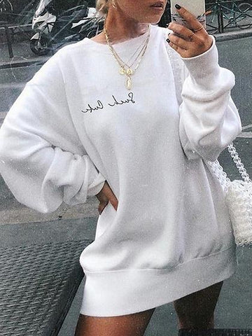 White Letter Embroidery Long Sleeve Women Sweatshirt