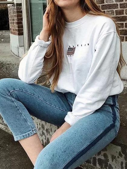 White Letter And US Flag Embroidery Long Sleeve Women Sweatshirt