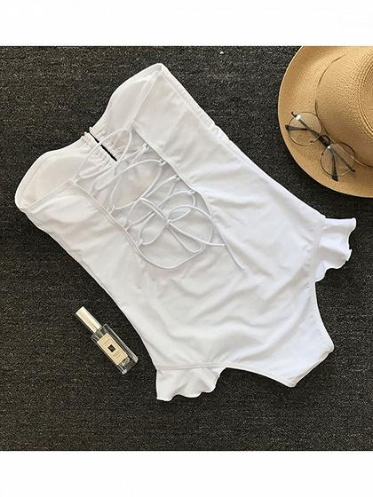 White Bandeau Lace Up Back Women Swimsuit
