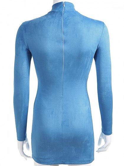 Blue Contrast High Neck Long Sleeve Women Suede Bodycon Mini Dress