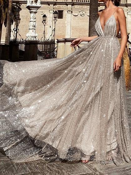 Silver Plunge Open Back Women Sparkling Cami Maxi Dress