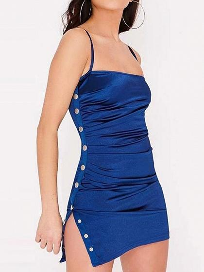Blue Button Placket Side Ruched Detail Women Cami Mini Dress