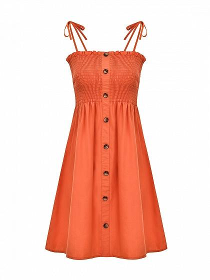 Orange Cotton Button Placket Front Women Cami Mini Dress