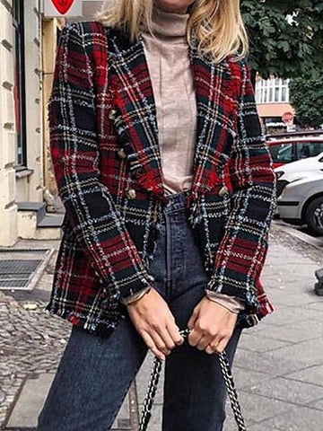 Red Plaid Lapel Tassel Trim Long Sleeve Women Blazer