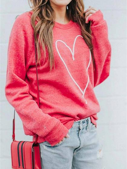 Red Heart Print Long Sleeve Women Sweatshirt