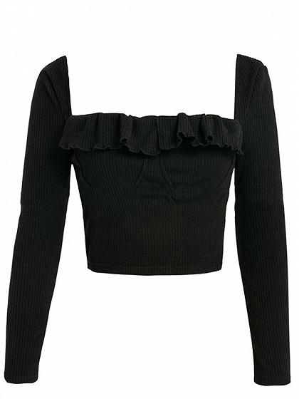 d3aea88c2f9 ... Black Ribbed Square Neck Ruffle Trim Long Sleeve Crop Top ...