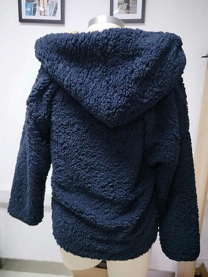 Dark Blue Long Sleeve Women Faux Shearling Hooded Coat