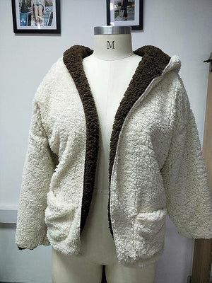 Camel Brown Long Sleeve Women Faux Shearling Hooded Coat