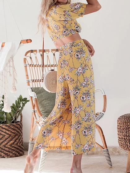 Yellow V-neck Floral Print Crop Top And High Waist Wide Leg Pants