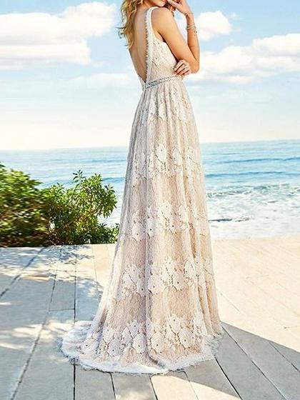 Beige Plunge Open Back Sleeveless Women Lace Maxi Dress