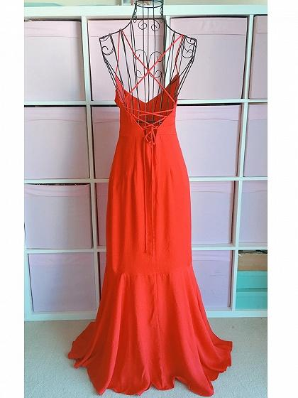 Red V-neck Ruffle Trim Lace Up Back Women Cami Maxi Dress