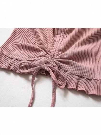 Pink Ribbed V-neck Ruffle Hem Women Crop Cami Top