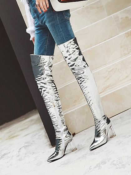 e70dc477e8103 ... Silver Leather Look Pointed Toe Clear Heeled Over the Knee Boots ...