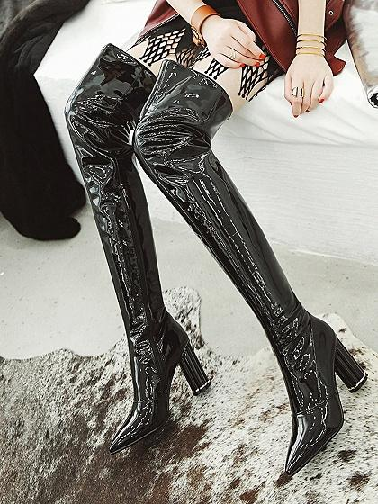 41e7468a8fec Black Leather Look Pointed Toe High Heeled Over the Knee Boots ...