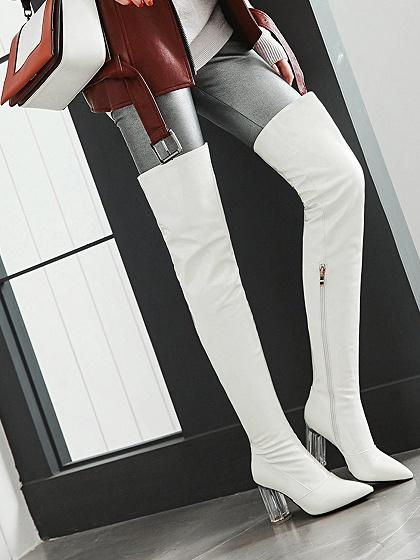 77d4a7d58c22 White Leather Look Pointed Toe Clear Heeled Over the Knee Boots ...