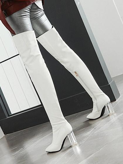 d6d8e616220bd ... White Leather Look Pointed Toe Clear Heeled Over the Knee Boots ...
