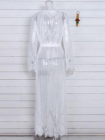 White Tie Waist Long Sleeve Women Lace Longline Kimono
