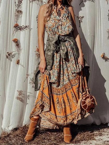 Yellow Contrast V-neck Floral Print Sleeveless Bohemian Maxi Dress