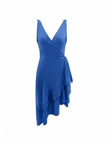 Blue Cotton Plunge Tie Waist Ruffle Trim Women Cami Dress