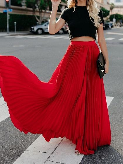 Red High Waist Pleated Detail Women Maxi Skirt