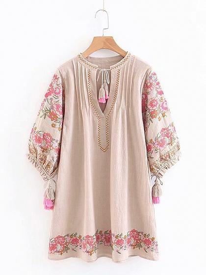Beige Cotton V-neck Flower Embroidery Puff Sleeve Mini Dress