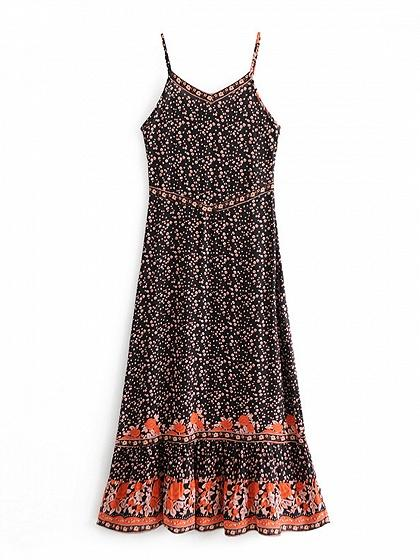 Polychrome V-neck Floral Print Open Back Bohemian Cami Maxi Dress