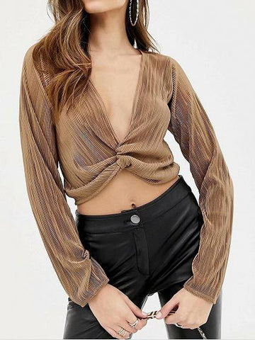 Dark Khaki Plunge Pleated Detail Long Sleeve Women Crop Top