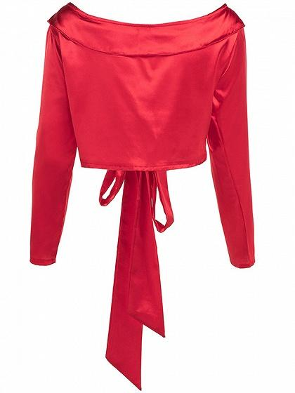 Red Satin Look Lapel Plunge Tie Front Long Sleeve Women Crop Top