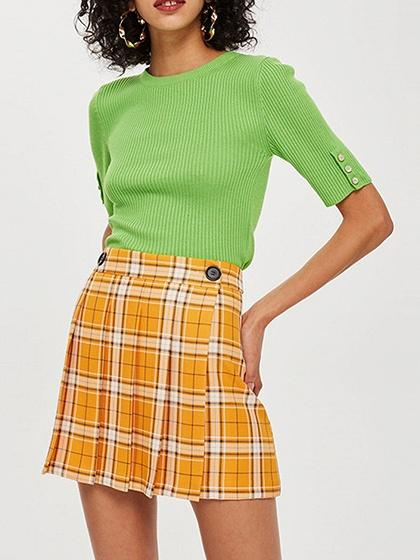 Yellow Plaid High Waist Pleated Detail Women Mini Skirt