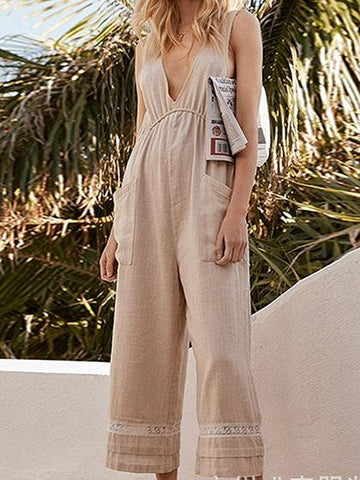 Khaki Plunge Drawstring Waist Sleeveless Women Jumpsuit