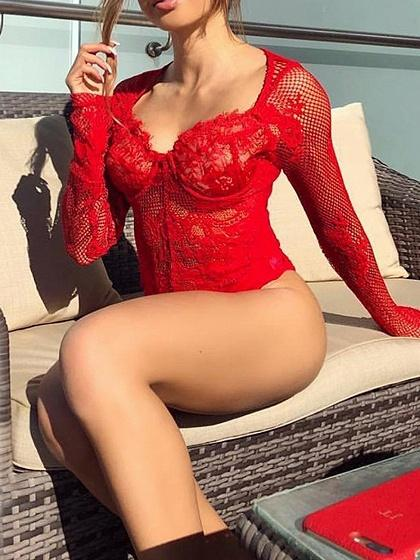 Red V-neck Long Sleeve Women Lace Bodysuit