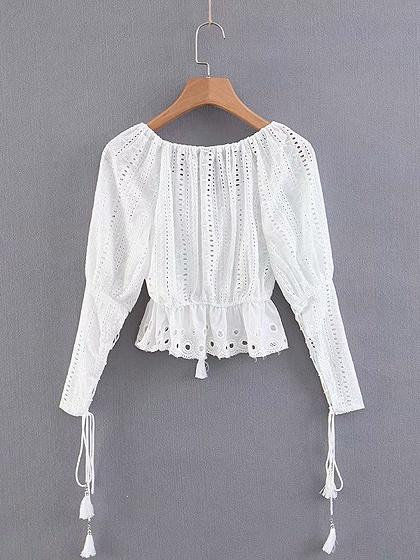 White Off Shoulder Puff Sleeve Women Lace Crop Blouse