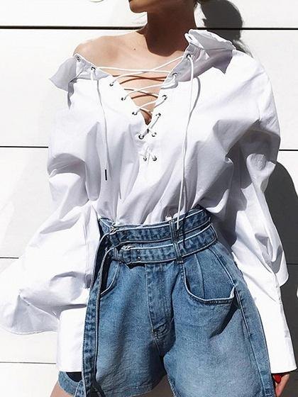 White Cotton Eyelet Lace Up Front Ruffle Sleeve Women Blouse
