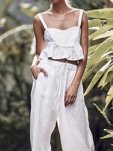 White Ruffle Hem Crop Cami Top And High Waist Wide Leg Pants