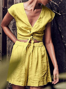 Yellow V-neck Knot Front Crop Top And High Waist Shorts
