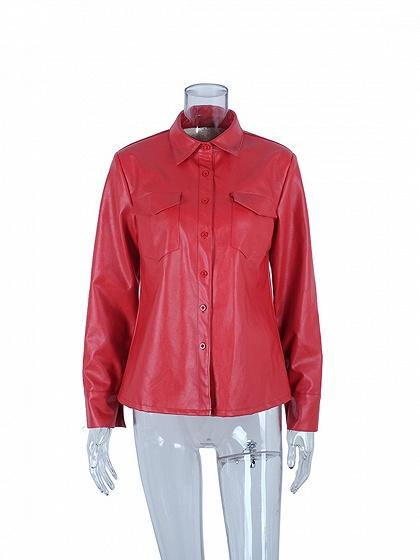 Red PU Lapel Button Placket Front Long Sleeve Women Jacket