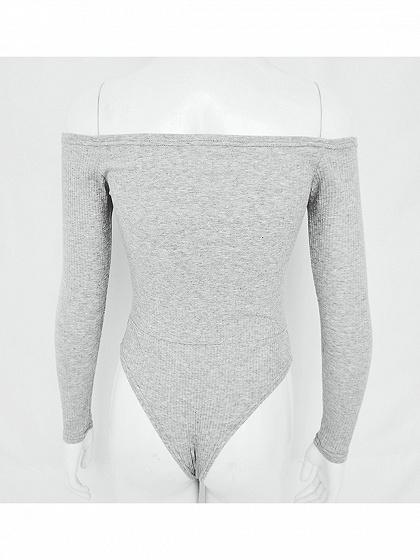 Gray Ribbed V-neck Cold Shoulder Button Placket Long Sleeve Bodysuit