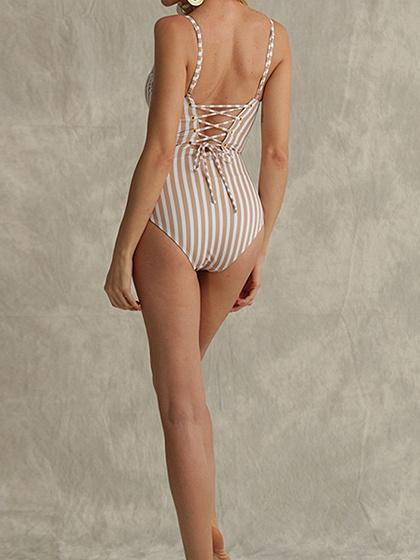 White Stripe Spaghetti Strap Plunge Eyelet Lace Up Open Back Swimsuit