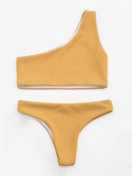 Yellow One Shoulder Bikini Top And High Waist Bottom