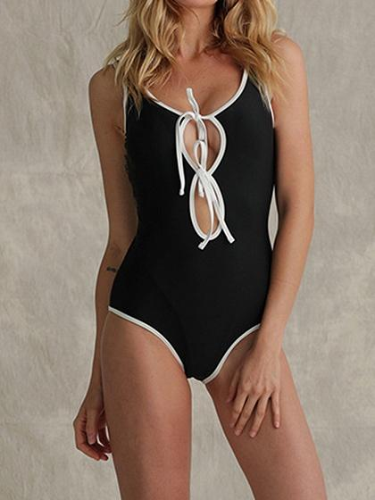 Black Spaghetti Strap Cut Out Front Open Back Women Swimsuit