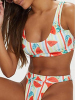 Polychrome Watermelon Print Bikini Set