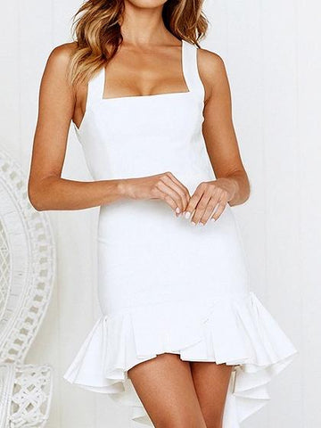 White Ruffle Hem Open Back Women Cami Hi-Lo Mini Dress