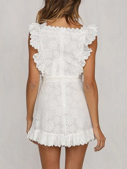 White Ruffle Trim Sleeveless Women Lace Mini Dress