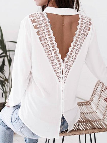 White V-neck Lace Panel Open Back Long Sleeve Women Shirt