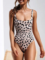 Light Pink Leopard Print One-Piece Swimsuit