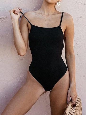Black Spaghetti Strap Open Back Women Bodysuit